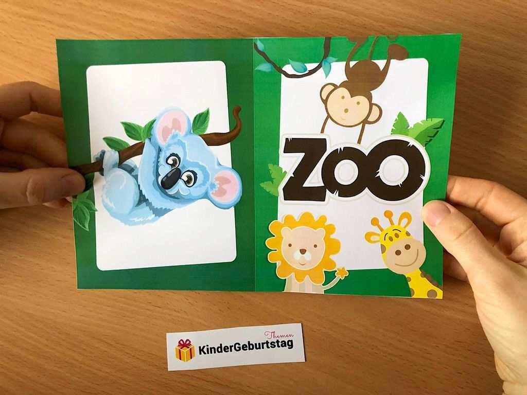 Einladung Zoo Geburtstag Klappkarte Mit Tieren Ausdrucken Einladungskarten Kindergeburtstag Kindergeburtstag Einladung Kindergeburtstag Basteln