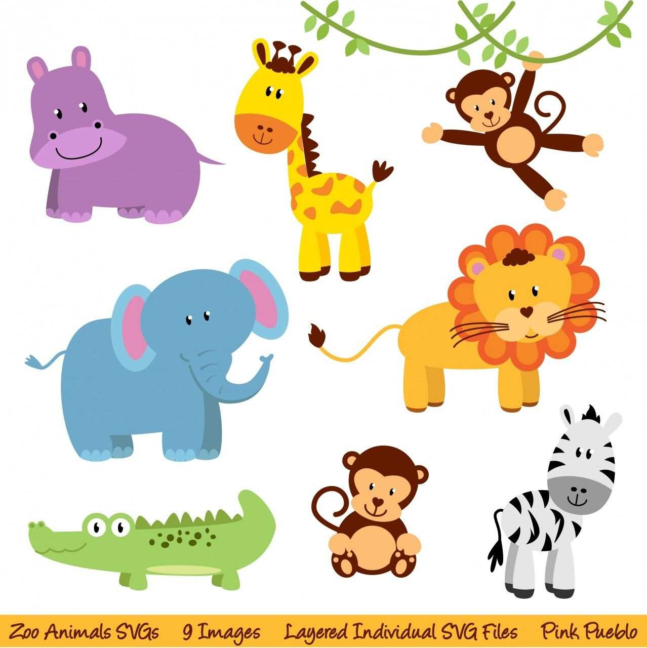 Zoo Animals Svgs Zoo Safari Jungle Animals Cutting Templates Commercial And Personal Use