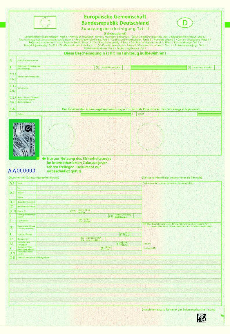 Anlage 7 Fzv Zu 12 Absatz 2 Zulassungsbescheinigung Teil Ii Lx Gesetze