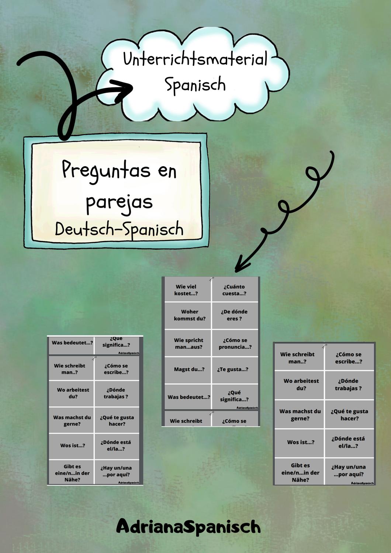 Preguntas En Parejas Deutsch Spanisch Unterrichtsmaterial In Den Fachern Fachubergreifendes Spanisch Spanisch Unterrichtsmaterial Lernen