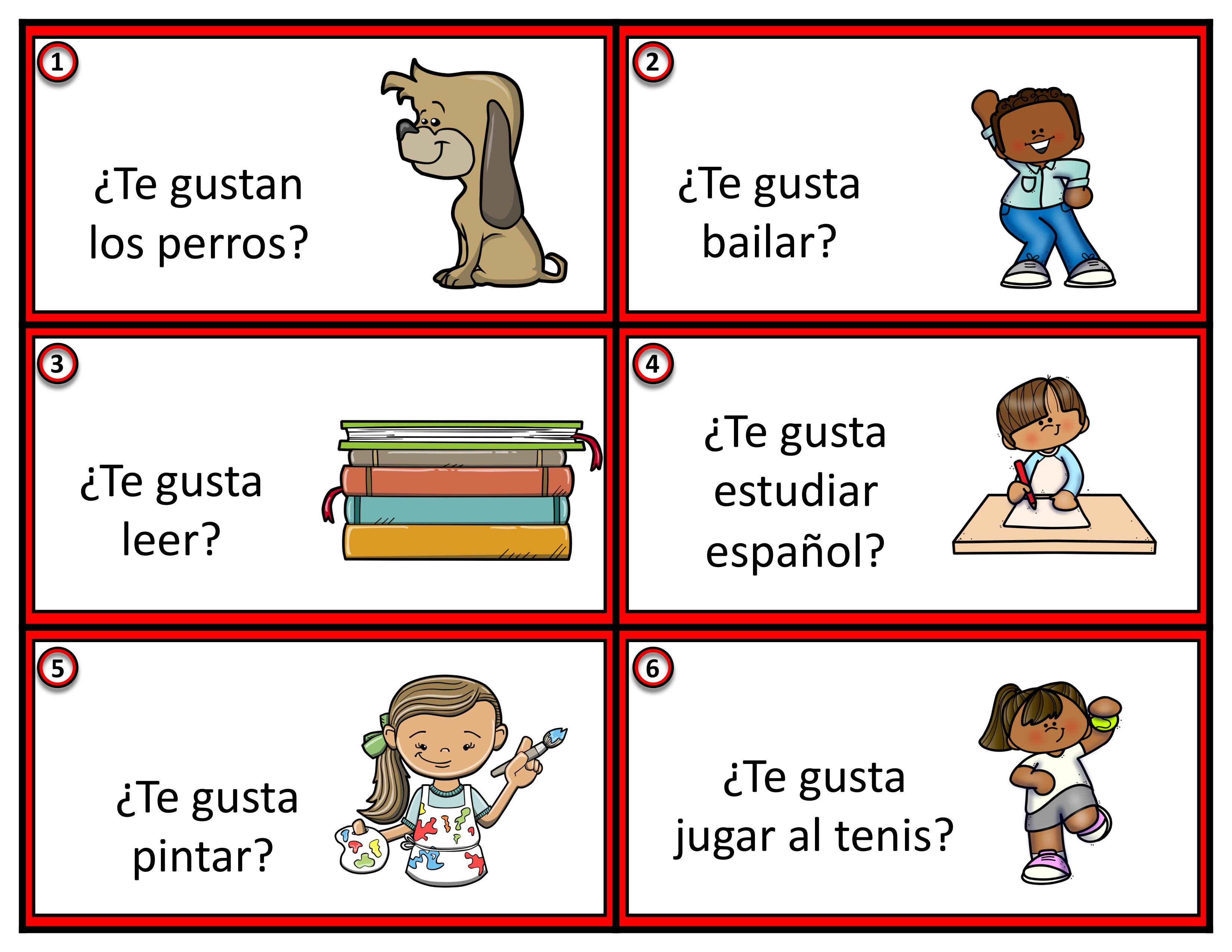 Te Gusta 24 Spanisch Bildkarten Unterrichtsmaterial Im Fach Spanisch Aufgabenkarten Bildkarten Spanisch