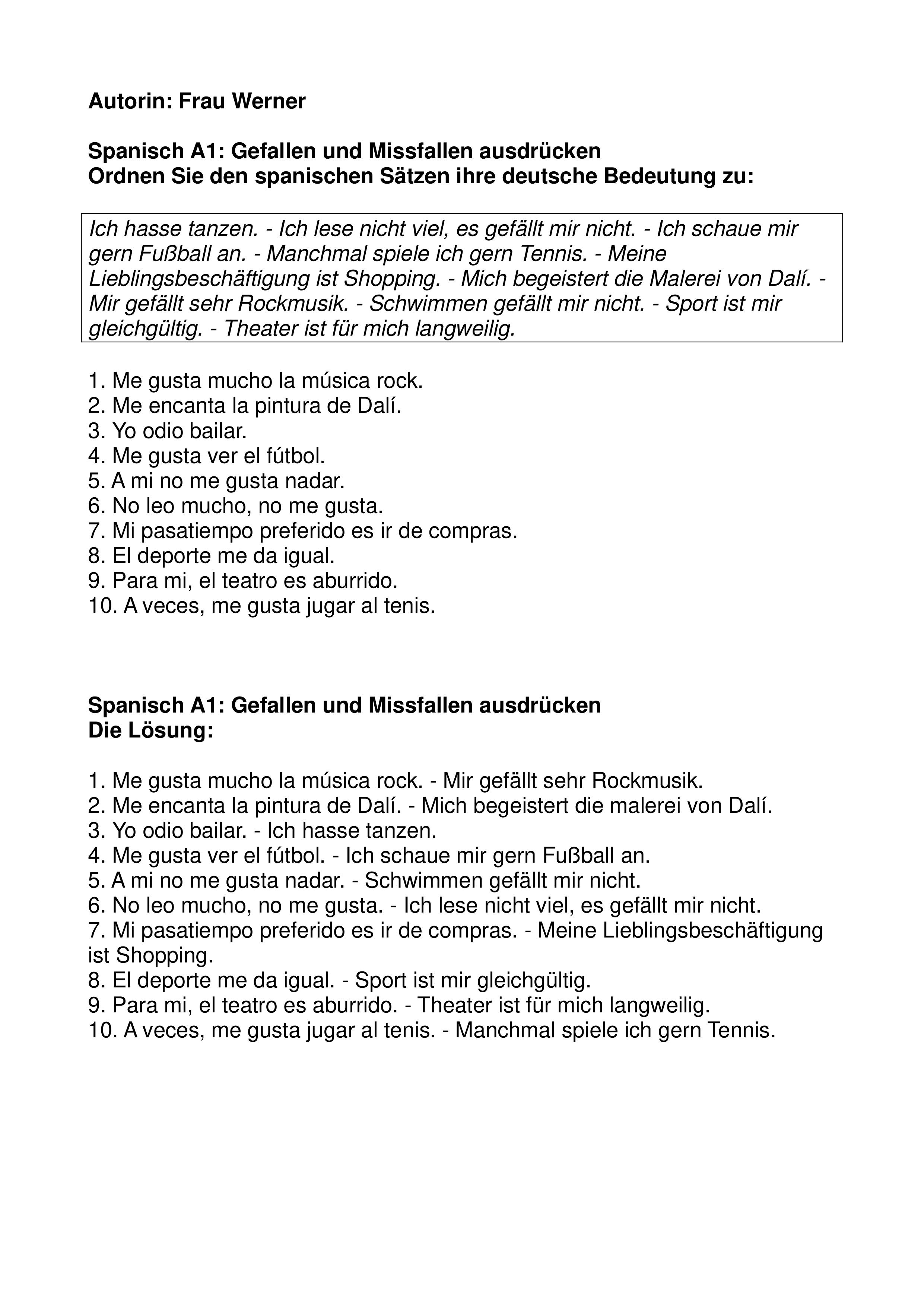 Spanisch A1 Gefallen Und Missfallen Ausdrucken Freizeit Mit Losung Unterrichtsmaterial Im Fach Spanisch Spanisch Spanisch Lernen Lernen