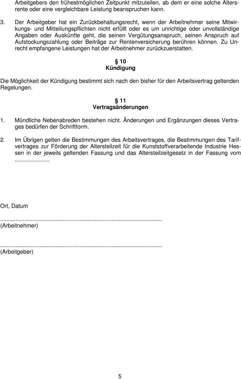 Kvi Muster Einer Altersteilzeit Vereinbarung Nach Dem Altersteilzeitarbeitsmodell I Pdf Kostenfreier Download