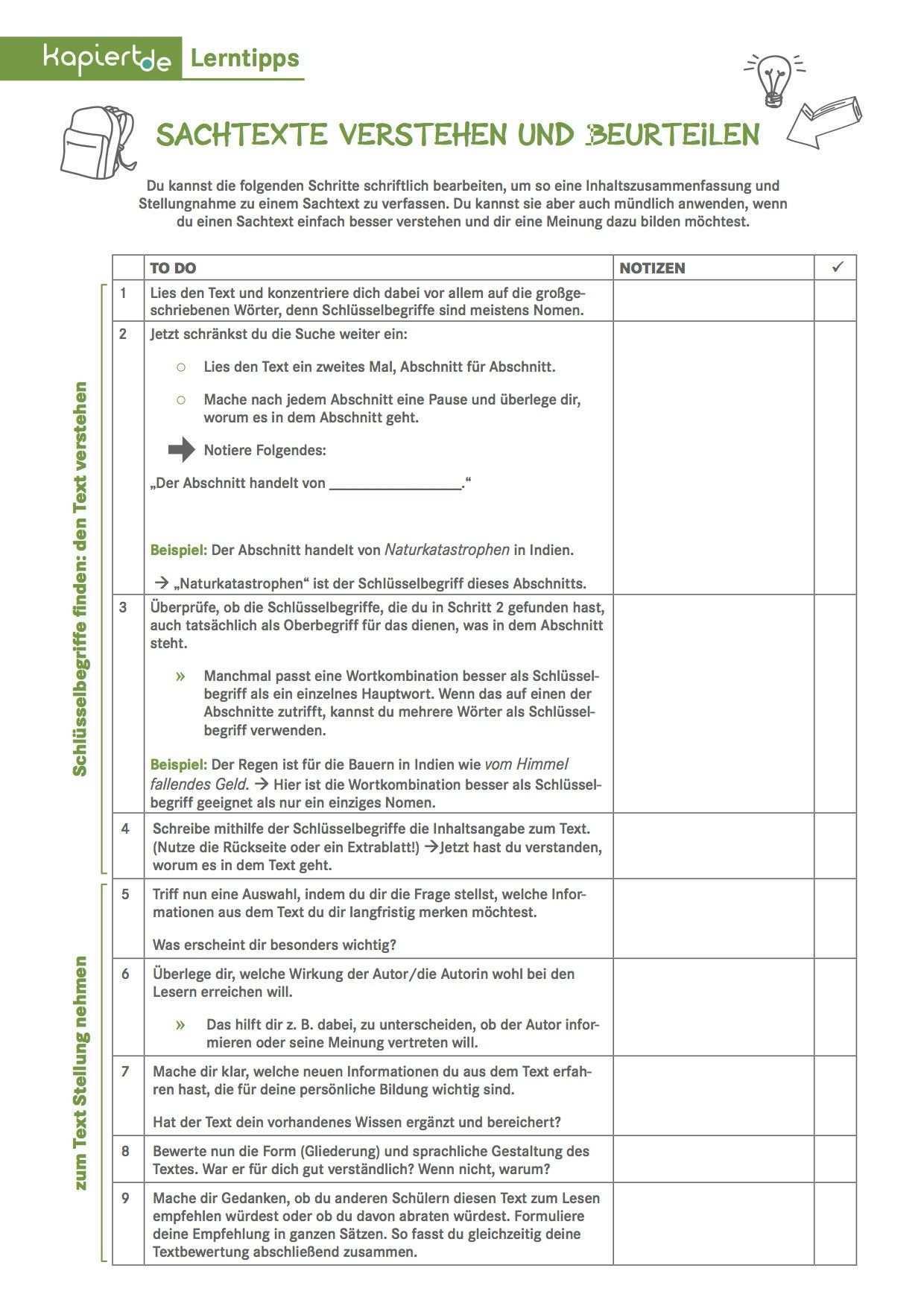 Checkliste Sachtexte Verstehen Und Beurteilen Sachtext Schreiben Lernen Organisieren Lernen