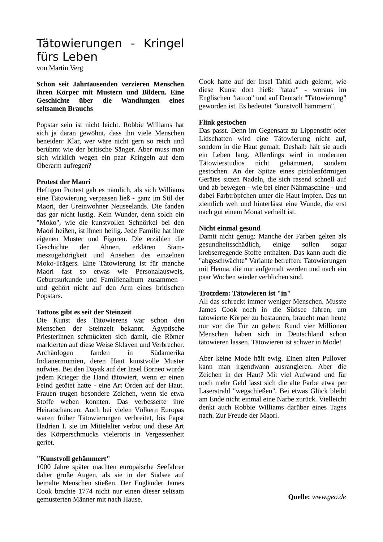 Tatowierungen Sachtext Mit Aufgaben Unterrichtsmaterial Im Fach Deutsch Sekundarstufe Unterrichtsmaterial Interessante Themen