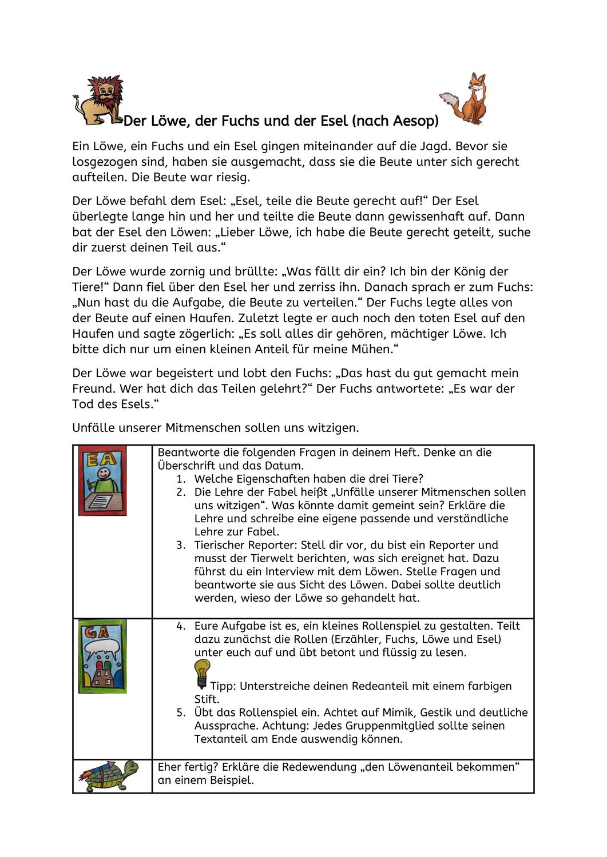 Fabel Vom Lowen Fuchs Und Esel Unterrichtsmaterial Im Fach Deutsch Fabel Fabeln Deutsch Lernen