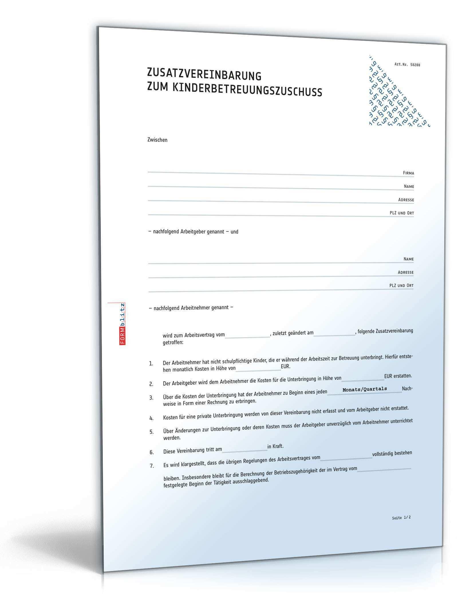 Zusatzvereinbarung Zum Kinderbetreuungszuschuss Muster Vorlage Zum Download