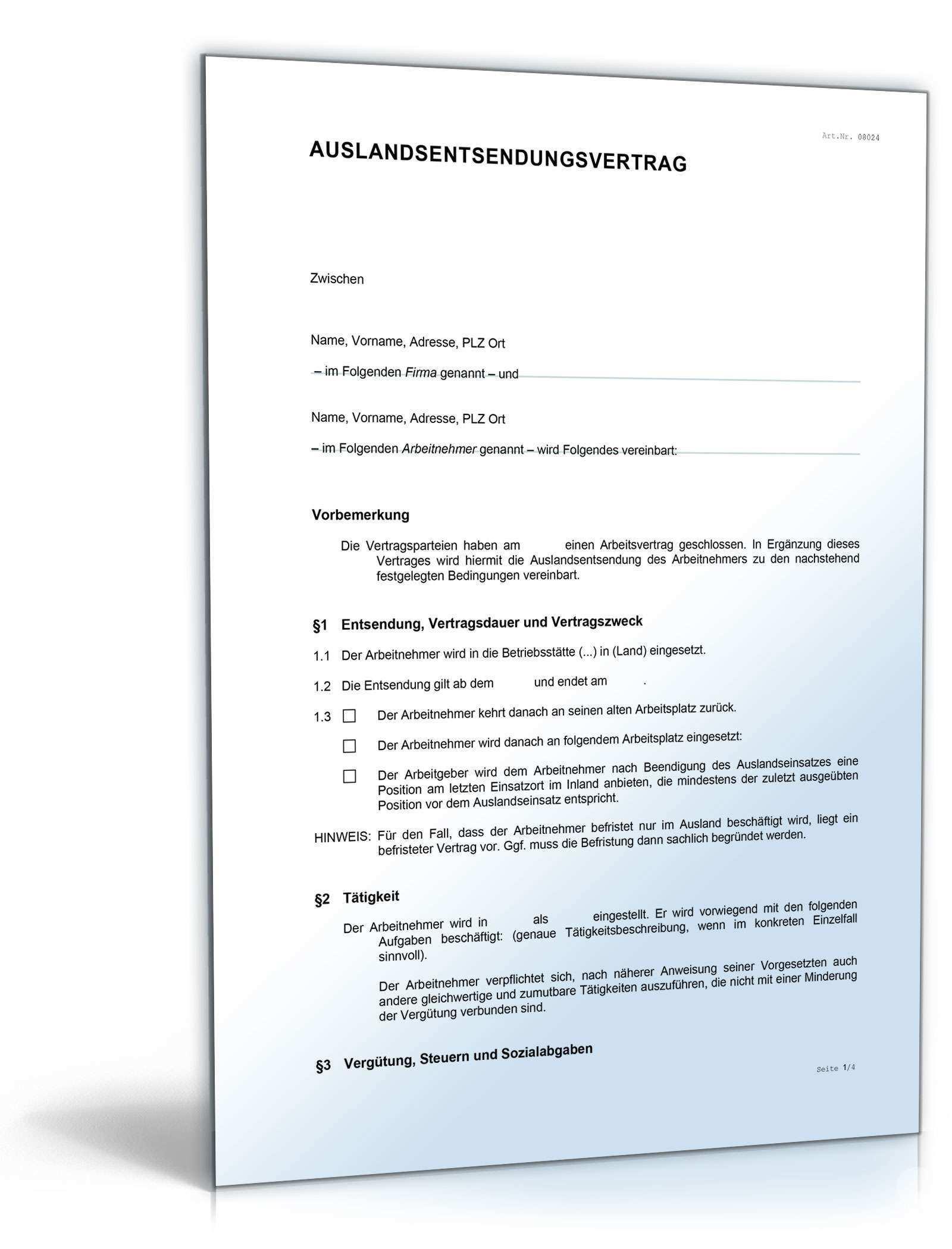Arbeitsvertrag Zusatzvereinbarung Auslandsentsendung Muster Zum Download