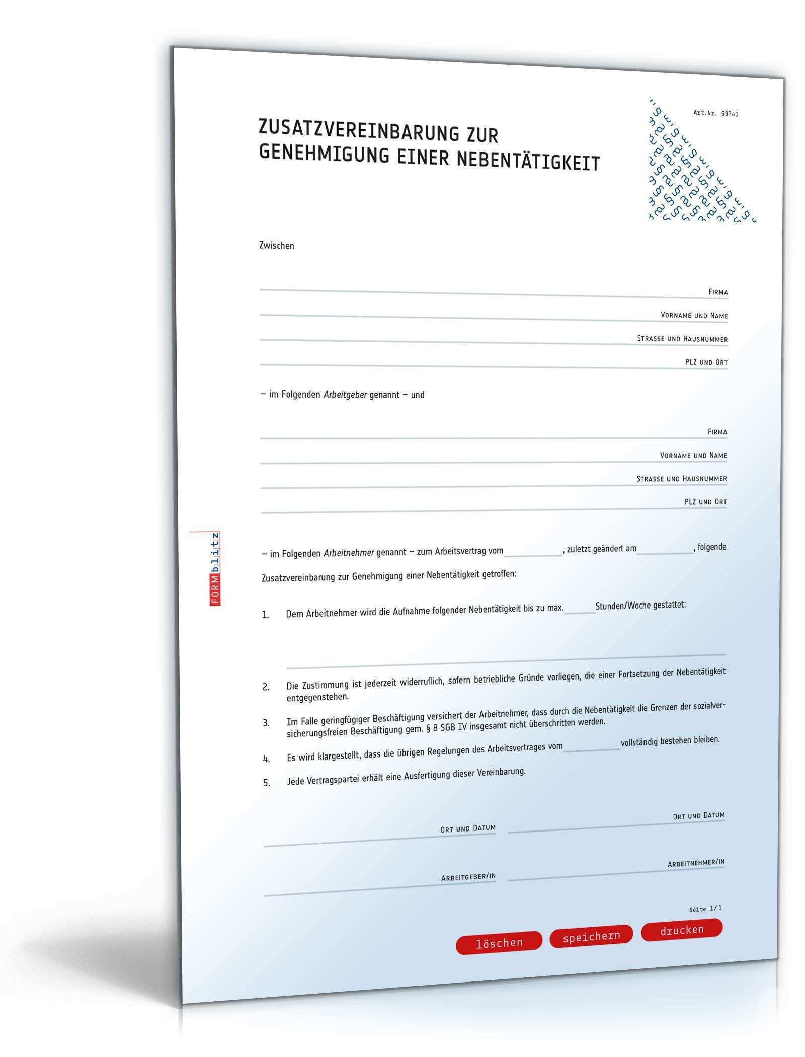 Zusatzvereinbarung Genehmigung Nebentatigkeit Muster Downloaden