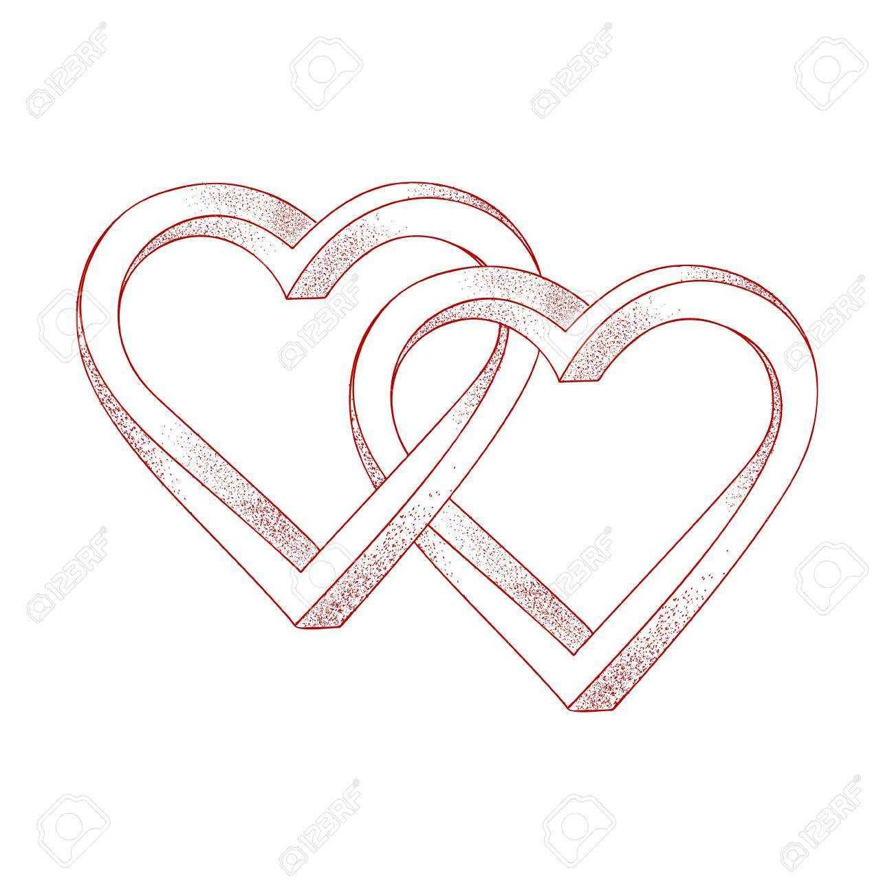 Zwei Herzen Auf Weissem Hintergrund Verflochten Lizenzfrei Nutzbare Vektorgrafiken Clip Arts Illustrationen Image 93165717