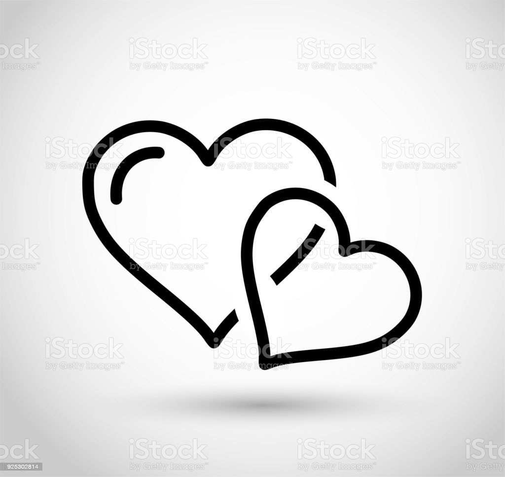 Liniensymbol Der Zwei Herzen Vektor Stock Vektor Art Und Mehr Bilder Von Abstrakt Istock